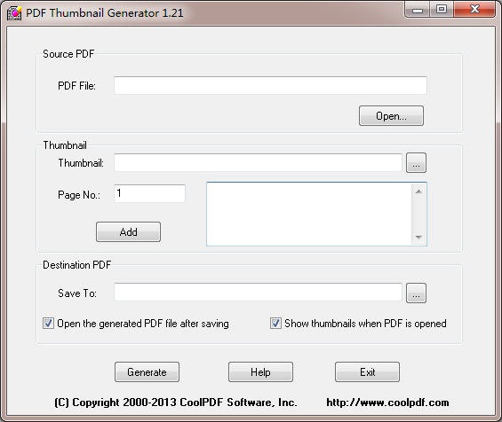 Click to view PDF Thumbnail Generator 1.21 screenshot